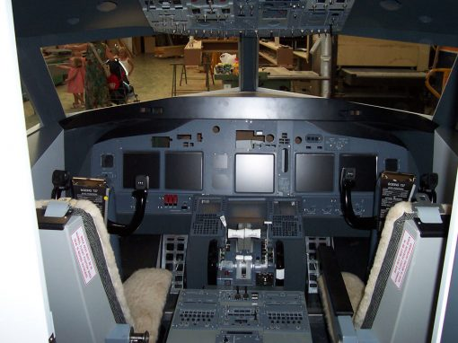 Boeing 737 plane simulator construction. Sondika