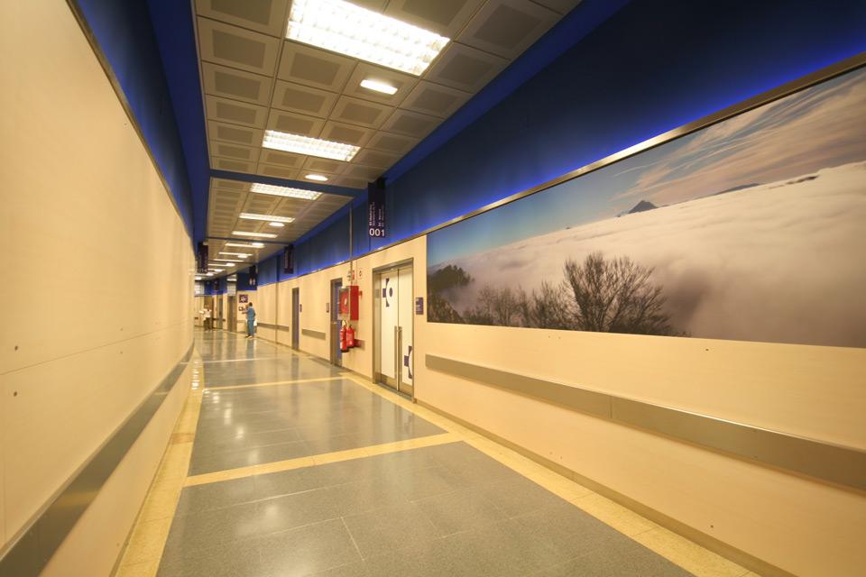 Detalle panelado en accesos en el Hospital Cruces