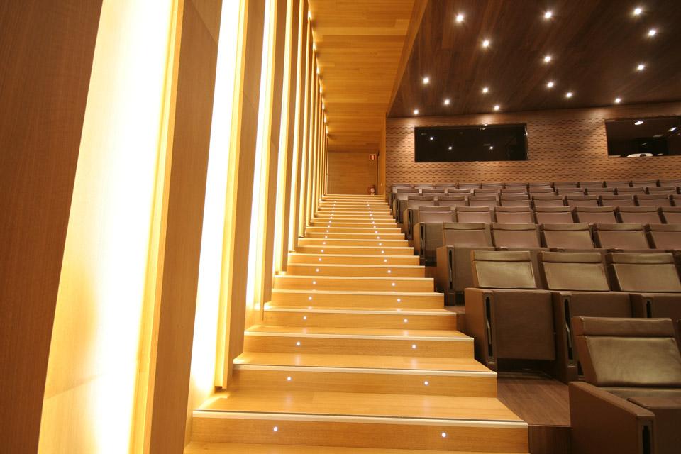 Escalera y panelado en madera Auditorio Orona